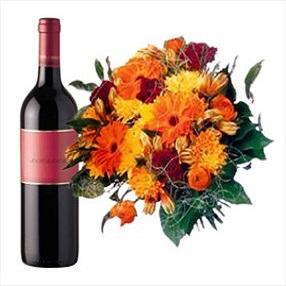 זר פרחים ויין