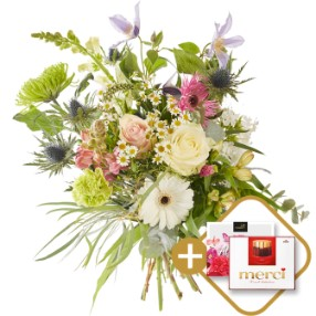Mixed colorful bouquet & Chocolates Box