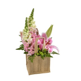 Mixed Pink Arrangement in a Hessian Bag